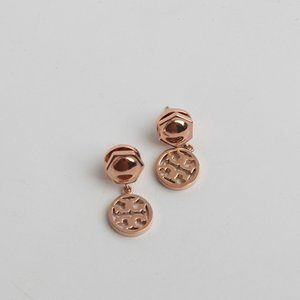 Tory Burch Logo Double T Rose Gold Earrings
